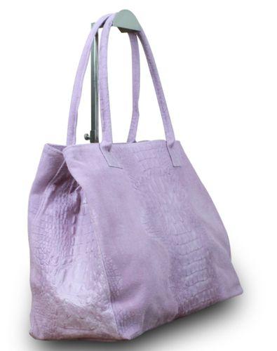 Made in Italy Luxus Designer Damen Schultertasche Shopper Bag Echt Leder Alligator Prägung  – Bild 8