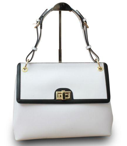 Made in Italy Designer Damen Henkeltasche Schultertasche Hobo Cube Echt Leder IT Bag Weiß – Bild 1