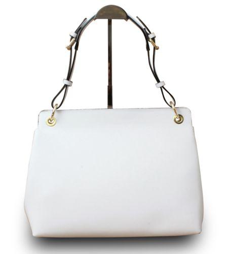 Made in Italy Designer Damen Henkeltasche Schultertasche Hobo Cube Echt Leder IT Bag Weiß – Bild 3