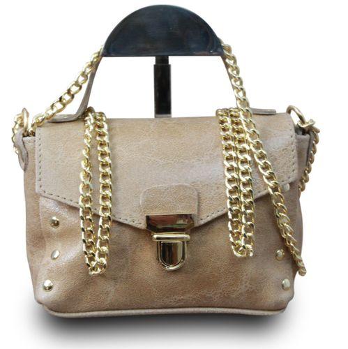 Made in Italy Clutch Party Bag Schultertasche Bella Kette Sauvage Echt Leder Cognac – Bild 8