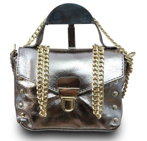 Made in Italy Clutch Party Bag Schultertasche Bella Kette Sauvage Echt Leder Cognac – Bild 14