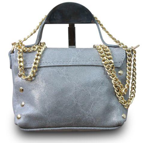 Made in Italy Clutch Party Bag Schultertasche Bella Kette Sauvage Echt Leder Cognac – Bild 7