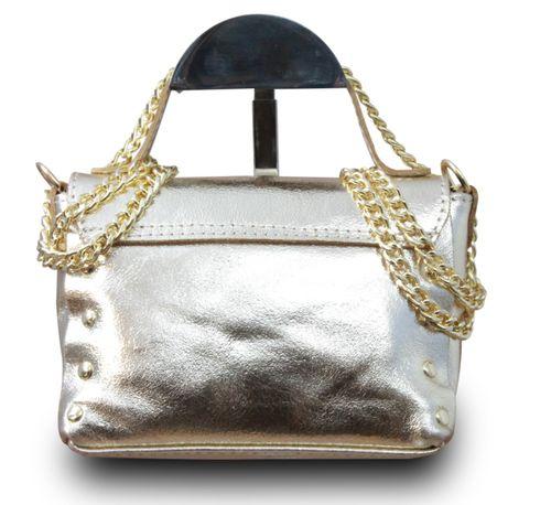 Made in Italy Clutch Party Bag Schultertasche Bella Kette Sauvage Echt Leder Cognac – Bild 17