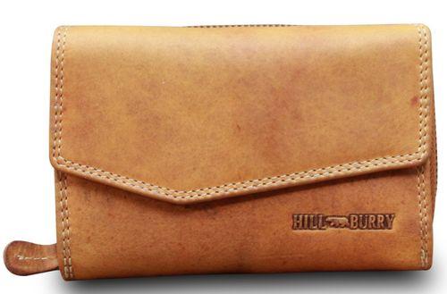 Hill Burry Geldbörse Damen Portemonnaie Bifold Premium Büffelleder Used Look  – Bild 14