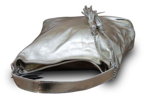 Made in Italy Luxus Damen Schultertasche Beutel Echt Leder Bicolor-Metallic Gold – Bild 4