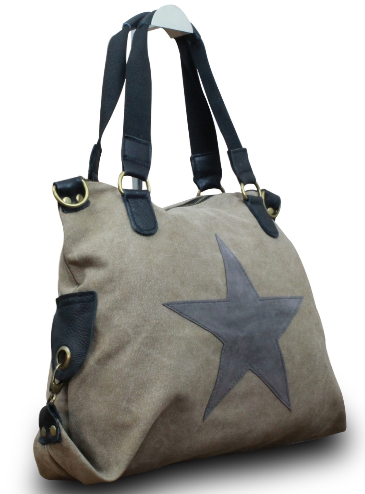 7fc3183cc8e0d My-Musthave Shopper Canvas-Tasche Stern Blogger Schultertasche Canvas Leder Vintage  Used Look