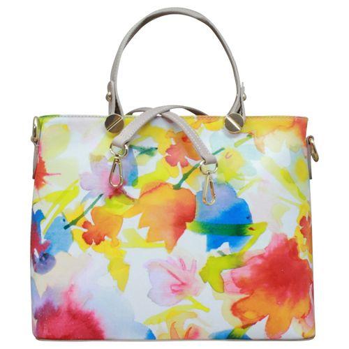 Made in Italy Echt Leder Handtasche Henkeltasche Hobo Blumen Print Schultertasche – Bild 2