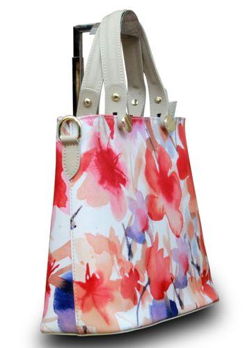 Made in Italy Echt Leder Handtasche Henkeltasche Hobo Blumen Print Schultertasche – Bild 7