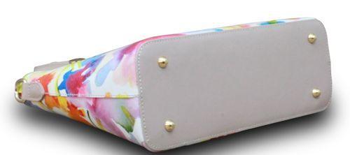Made in Italy Echt Leder Handtasche Henkeltasche Hobo Blumen Print Schultertasche – Bild 5