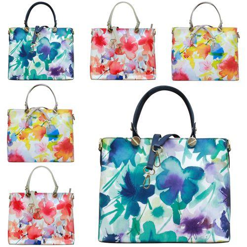 Made in Italy Echt Leder Handtasche Henkeltasche Hobo Blumen Print Schultertasche – Bild 1