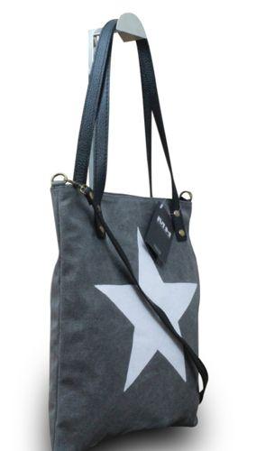 My-Musthave XXL Shopper Canvas-Tasche mit Stern Blogger Schultertasche Canvas – Bild 6