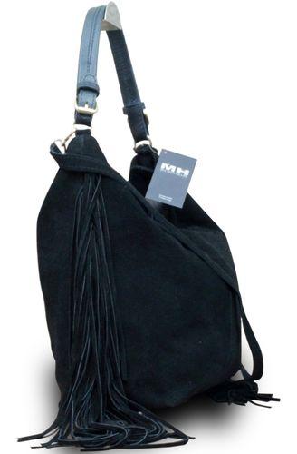 Made in Italy Fransentasche Beuteltasche Bag Schultertasche Wildleder Bag – Bild 4