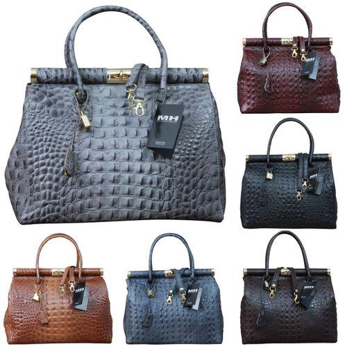 Made in Italy Luxus Damen Henkel Tasche Leder Kroko Alligator Prägung  – Bild 1
