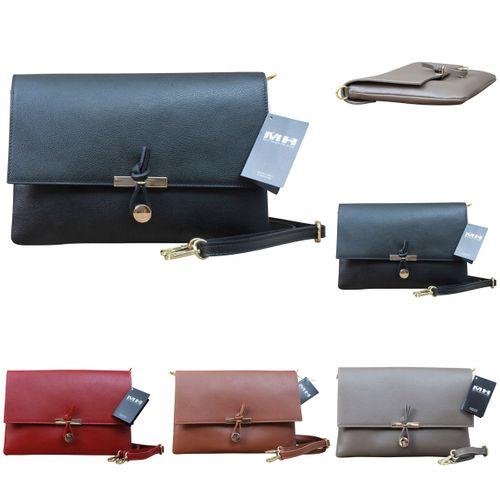 Ital Damen Leder Clutch Tasche Desinger Handtasche Echt Leder Edel – Bild 1