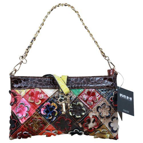 Made in Italy Damen Henkeltasche Schultertasche Shopper Bag Echt Leder Blumen Leder Flowerpower  – Bild 1