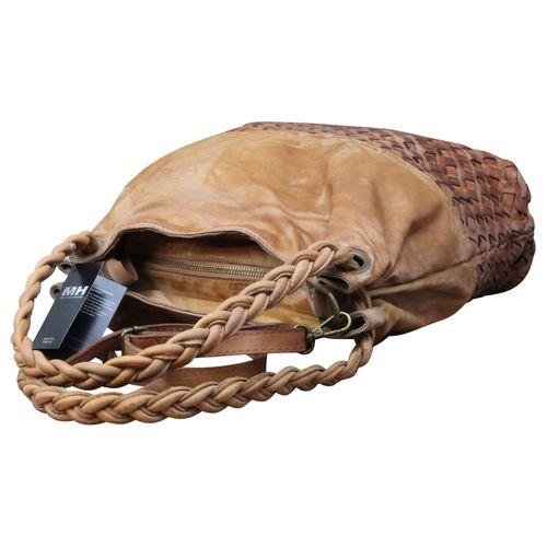 Ital. echt Leder Vintage Shopper Ledertasche Shopper Schulter Tasche Leder Vintage Geflochten – Bild 5