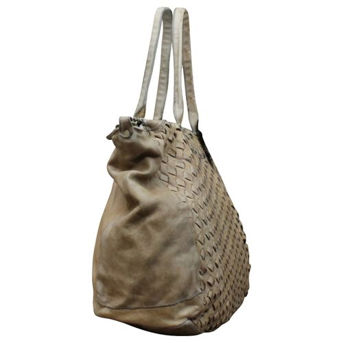 Ital. echt Leder Vintage Shopper Ledertasche Shopper Schulter Tasche Leder Vintage Geflochten – Bild 14