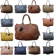 Ital. echt Leder Vintage Shopper Ledertasche Shopper Schulter Tasche Leder Vintage Geflochten 001