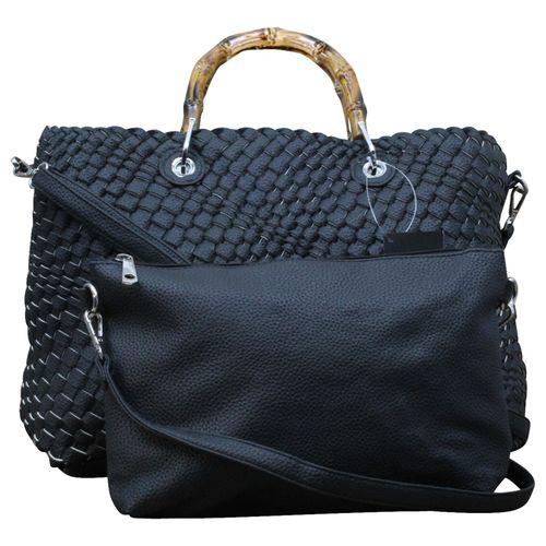 Damen Schultertasche Wende- Strandtasche Zweifarbig Shopper Bag in Bag Leder Optik geflochten  – Bild 17