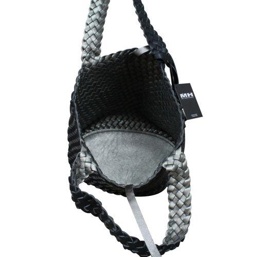 Damen Schultertasche Bag in Bag Wendetasche Beuteltasche Shopper Leder Optik geflochten zweifarbig – Bild 9