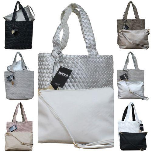 Damen Schultertasche Bag in Bag Wendetasche Beuteltasche Shopper Leder Optik geflochten zweifarbig – Bild 1