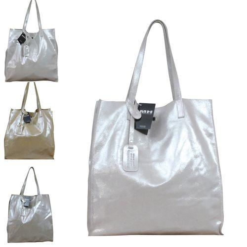 Handtasche Ledertasche Shopper Echt Leder Edel Luxus Italy Metallic Lackleder  – Bild 1