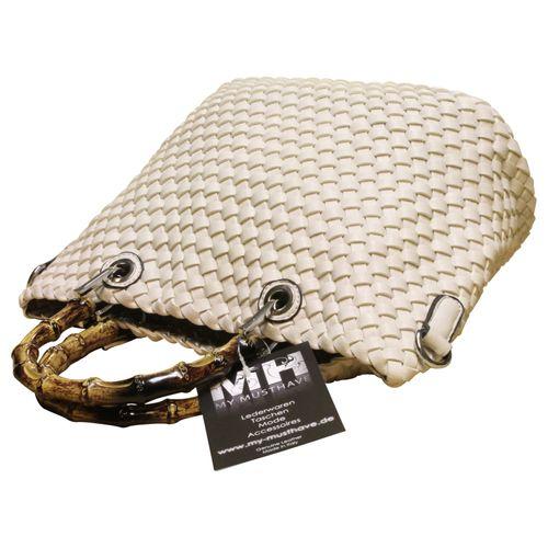 Damen Schultertasche Wende- Strandtasche Zweifarbig Shopper Bag in Bag Leder Optik geflochten  – Bild 11