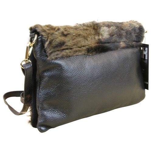Made in Italy Damen Clutch Party Bag Clutch Nappa-Leder Echt Fell Schwarz – Bild 2