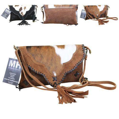 Made in Italy Damen Clutch Party Bag Clutch Wildleder Echt Fell – Bild 1