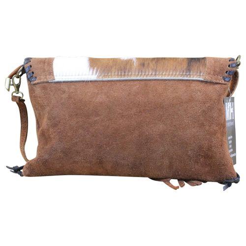 Made in Italy Damen Clutch Party Bag Clutch Wildleder Echt Fell – Bild 4