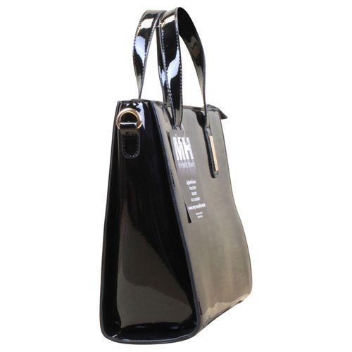 Henkeltasche Handtasche Hobo Cube Bag Lack Kunst Leder Schwarz – Bild 3