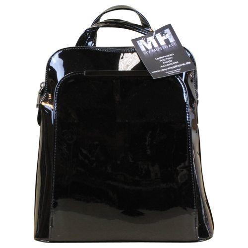 Rucksack Cube Bag Lack Kunst Leder Silber Rosegold – Bild 5