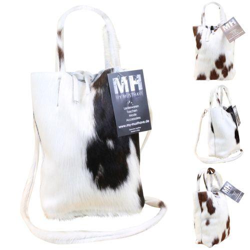 Made in Italy Luxus Damen Party Bag Clutch Henkeltasche Hobo Echt Echt Fell Schwarz-Weiß – Bild 1