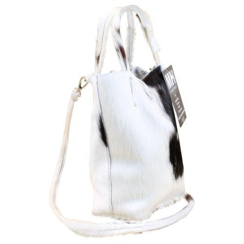 Made in Italy Luxus Damen Party Bag Clutch Henkeltasche Hobo Echt Echt Fell Schwarz-Weiß – Bild 3