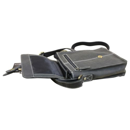 Hütmann Schultertasche I-Pad Tasche Cross-Body Bag Umhängetasche Premium Leder Vintage Schwarz – Bild 4