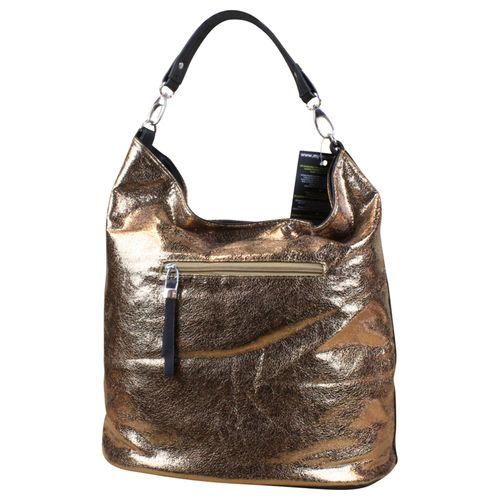 Damen Shopper Schultertasche  it-bag Beuteltasche Nieten Gold – Bild 2