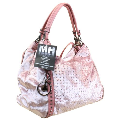 Damen Shopper Schultertasche  it-bag Beuteltasche Nieten Samt Braun oder Rosa – Bild 4