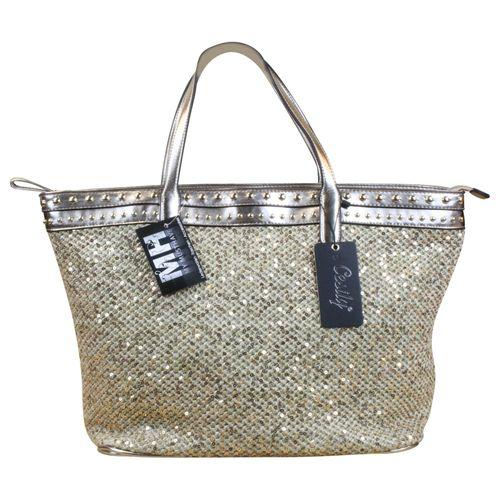 Tasche Schultertasche Cube Bag Lack Kunst Leder Pailletten  – Bild 5