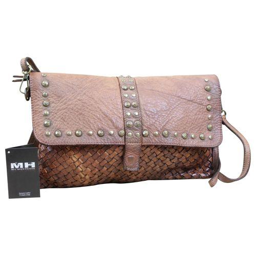 Schultertasche Messenger Crossbody Bag Geflochten Used Look Leder Used  – Bild 1