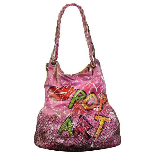 Ital. echt Leder Vintage Shopper Ledertasche Schultertasche Graffiti Design Bunte Tasche Leder Geflochten – Bild 2