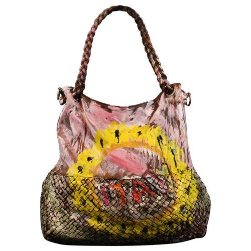 Ital. echt Leder Vintage Shopper Ledertasche Schultertasche Graffiti Design Bunte Tasche Leder Geflochten – Bild 7