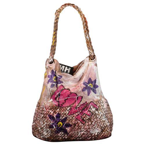 Ital. echt Leder Vintage Shopper Ledertasche Schultertasche Graffiti Design Bunte Tasche Leder Geflochten – Bild 12