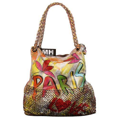Ital. echt Leder Vintage Shopper Ledertasche Schultertasche Graffiti Design Bunte Tasche Leder Geflochten – Bild 16