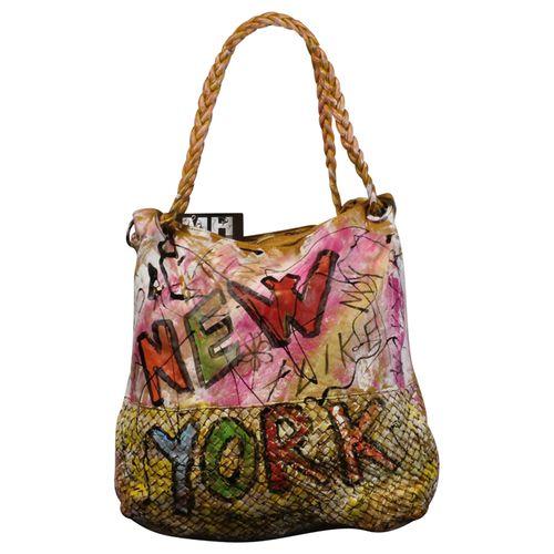Ital. echt Leder Vintage Shopper Ledertasche Schultertasche Graffiti Design Bunte Tasche Leder Geflochten – Bild 21