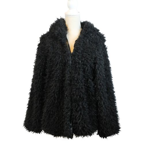HIP Damen Kunstfell Jacke Kurzjacke Blogger in Fell Optik Faux Fur mit Kapuze – Bild 3