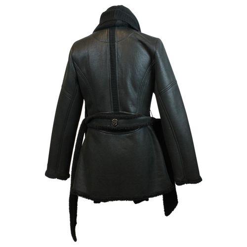 JUNONA Sportliche Damen Jacke Leder Optik Strickkragen und Kunstfell gefüttert Blogger Jacke  – Bild 3