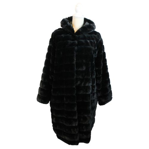 HIP Damen Fellmantel Kunstfell Kunstpelz Fell Blogger Mantel in Pelz Optik Faux Fur mit Kapuze – Bild 1