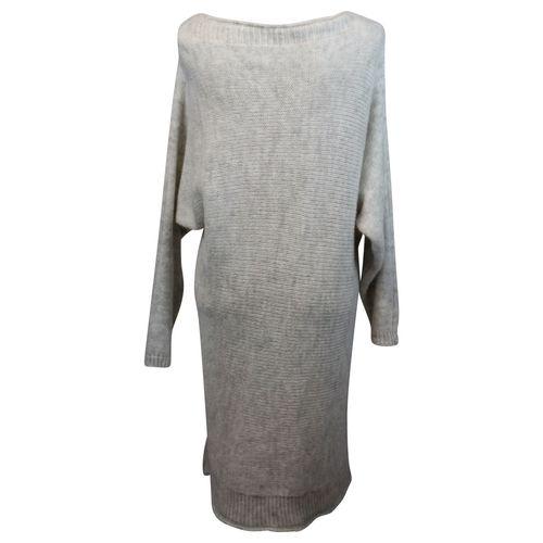HIP Damen Strickkleid lässig gemütlich offen beidseitig tragbar Cardigan Kleid Langarm – Bild 5