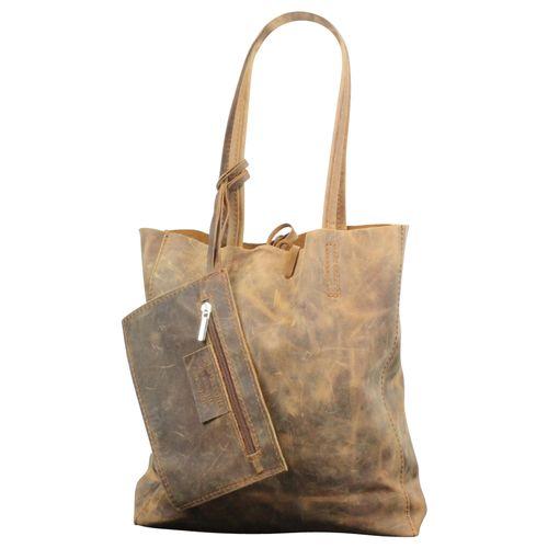 Schultertasche Messenger Schultasche Crossbody Bag Vintage Used Look Leder  – Bild 3