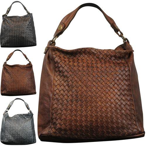 Made in Italy Damen Schultertasche Beuteltasche Bag Shopper Leder Vintage Geflochten  – Bild 1